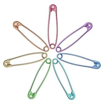 Set di spille da balia realistiche per vestiti, spille da balia di colori arcobaleno isolato su bianco, illustrazione