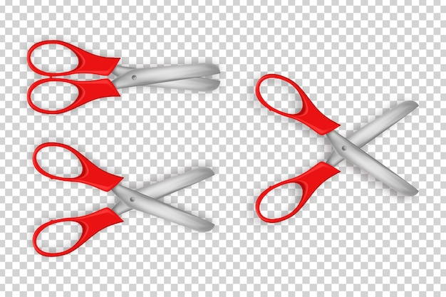 Set di forbici realistiche per la decorazione del modello sullo sfondo trasparente.