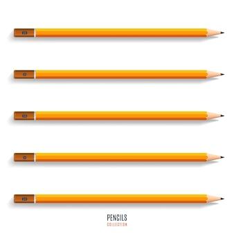 Set di matite gialle affilate realistiche con ombra isolata su sfondo bianco. cancelleria per disegno e lavoro. illustrazione vettoriale
