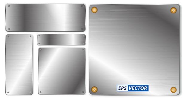 Set di metallo lucido realistico isolato o lega di acciaio spazzolato di varie forme o piastra d'acciaio lucidata