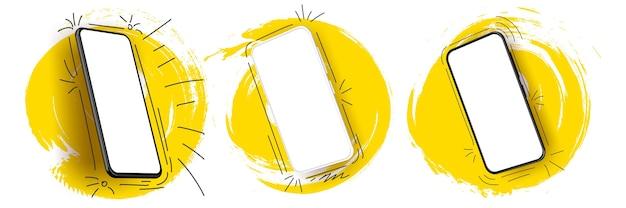 Set di smartphone realistico con colore splash. tecnologico artistico.