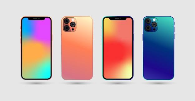 Set di smartphone realistici con schermo sfumato