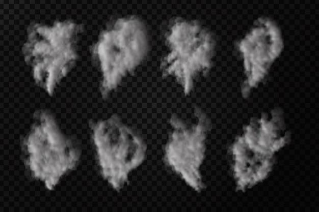 Set di fumo realistico sullo sfondo trasparente.
