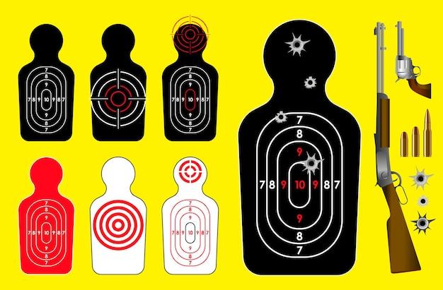 Insieme di un concetto di freccia bersaglio realistico isolato o obiettivo del bersaglio del bersaglio o bersaglio del tiro con l'arco