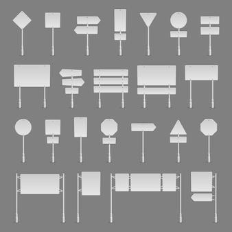 Set di segnali stradali realistici simbolo del segnale stradale