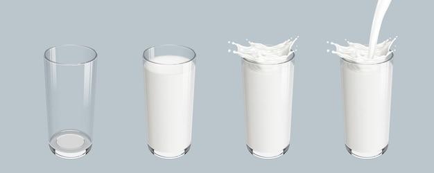 Impostare un bicchiere vuoto trasparente realistico con versando la spruzzata di latte