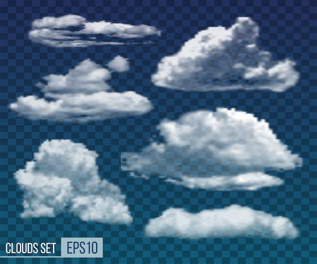 Set di nuvole di notte trasparenti realistici.