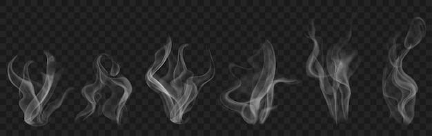 Set di fumo o vapore trasparente realistico nei colori bianco e grigio, da utilizzare su sfondo scuro. trasparenza solo in formato vettoriale