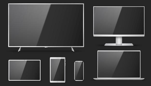 Set di tv realistica, lcd, led, monitor del computer