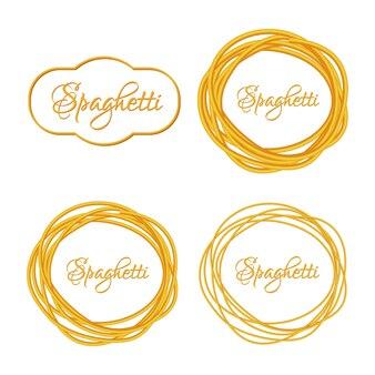 Set di realistici twisted spaghetti pasta circle frame, logo emblema illustrazione vettoriale