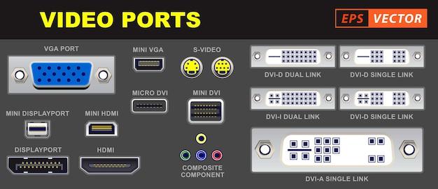 Set di connettori per computer con porta video realistici o simboli di connettori universali video o vari