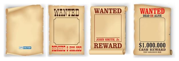 Set di poster ricercati realistici isolati o manoscritti di pergamena pergamena vintage o carta vecchia grunge