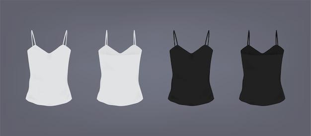 Set di t-shirt slim fit con cinturino per spaghetti femminile bianco e nero realistico. vista anteriore e posteriore.