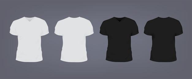 Set di realistiche t-shirt unisex slim fit bianche e nere con scollo a v.