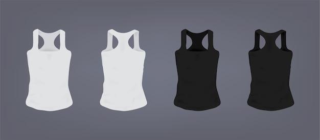 Set di t-shirt sportiva slim fit unisex bianca e nera realistica