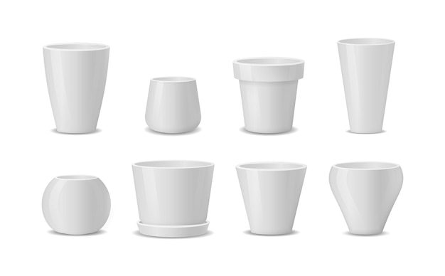 Set di vasi da fiori in ceramica bianca realistici isolati su bianco