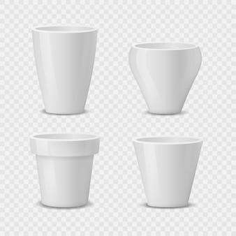 Set di vasi da fiori in ceramica bianca realistici