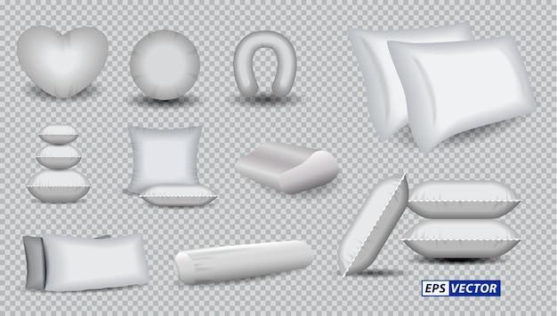 Set di cuscini morbidi bianchi realistici o rettangolo di pile di cuscini o letto comfort quadrato con cuscino bianco