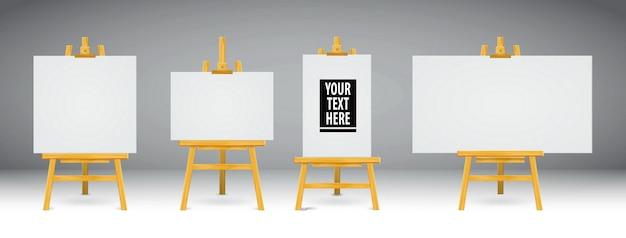 Set di realistici cavalletti in legno o cavalletti in legno dipinti o quadri su tela di diverse dimensioni