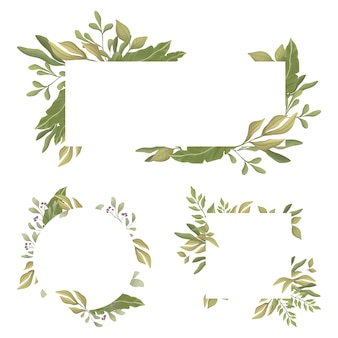 Insieme di bordi rettangolari con lo spazio del testo al centro. foglie verdi cornici rotonde e rettangolari.