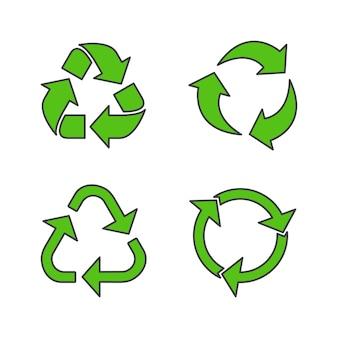 Insieme dell'illustrazione dell'icona di vettore del segno di riciclo. simbolo di riciclaggio dell'icona piana di fondi ecologicamente puri