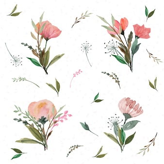 Set di fiori selvatici bouquet rosso