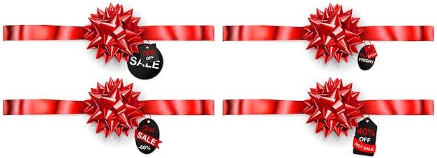 Set di fiocchi rossi con nastri orizzontali, ombre ed etichette e cartellini di vendita su sfondo bianco