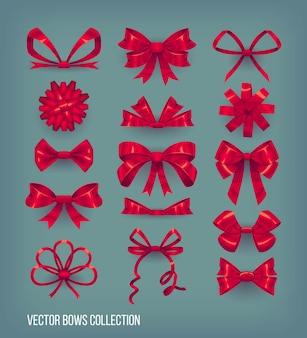 Insieme dei nodi rossi dell'arco di stile del fumetto e nastri legati. collezione di elementi decorativi