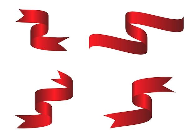 Set di nastro curvo colorato rosso su sfondo bianco