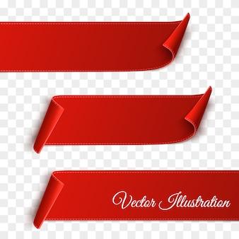 Set di banner bianco carta curvo rosso isolato su trasparente