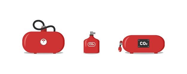 Set di estintori rossi, icone - simbolo di sicurezza - equipaggiamento di protezione - segnale di emergenza. estintori di vario tipo per garantire la sicurezza dell'edificio, che tutelerebbe le persone.