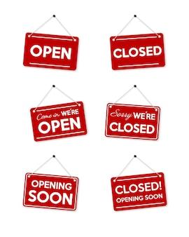 Imposta cornice rossa spiacenti, siamo chiusi e apriremo presto. Vettore Premium