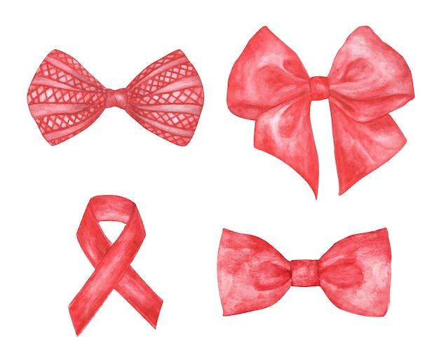 Set di fiocco regalo rosso. illustrazione dell'acquerello di fiocco e nastro.