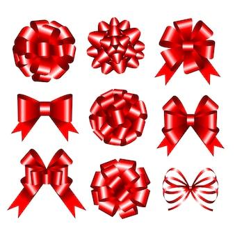 Set di fiocchi regalo rossi. illustrazione.