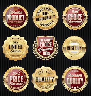 Set di adesivi e distintivi rossi e oro