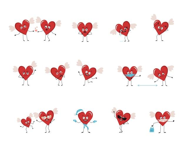 Set di caratteri a cuore rosso con emozioni faccia braccia e gambe decorazioni festive allegre o tristi per ...