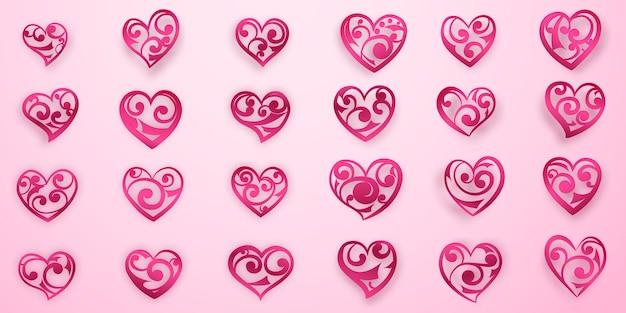 Set di simboli del cuore rosso con riccioli, riflessi e ombre su sfondo rosa