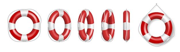 Set di salvagenti rossi. cinture di salvataggio, anelli di salvataggio in gomma gonfiabili con corda per aiuto e sicurezza della vita che annegano su sfondo bianco. illustrazione vettoriale 3d realistica