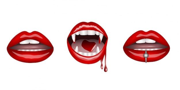 Set di labbra rosse. labbra femminili, labbra da vampiro e labbra con perlatura