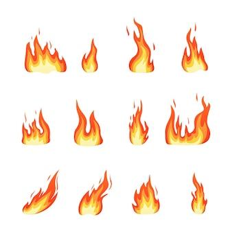 Set di illustrazione vettoriale di fiamma di fuoco rosso e arancione