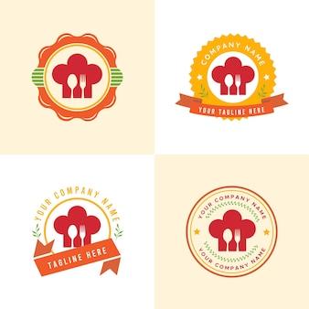 Set di modello di logo di cucina o catering o ristorante rosso e arancione in sfondo giallo chiaro