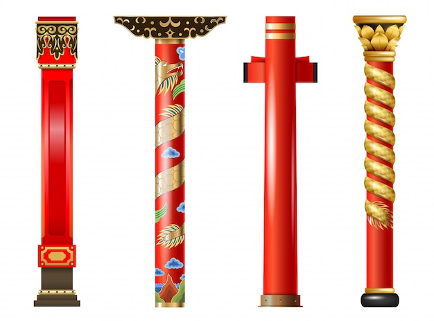 Set di colonne orientali rosse di cinese e giapponese