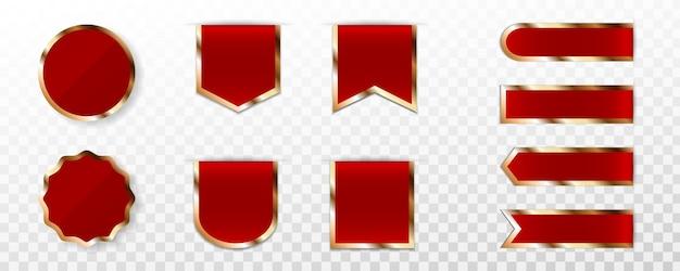 Set di etichetta premium rosso, badge o tag