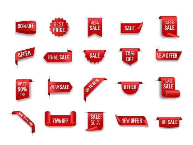 Set di rosso cartellini dei prezzi tag design per l'etichetta di vendita realistico venerdì nero