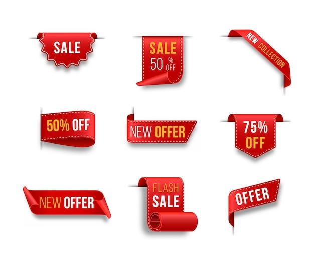 Set di cartellini dei prezzi rossi design del cartellino per il venerdì nero etichetta di vendita realistica