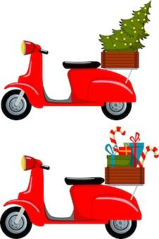 Set dello scooter retrò rosso con un albero di natale e scatole di natale. illustrazione vettoriale.