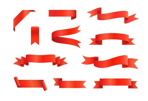 Confezione set di nastri rossi
