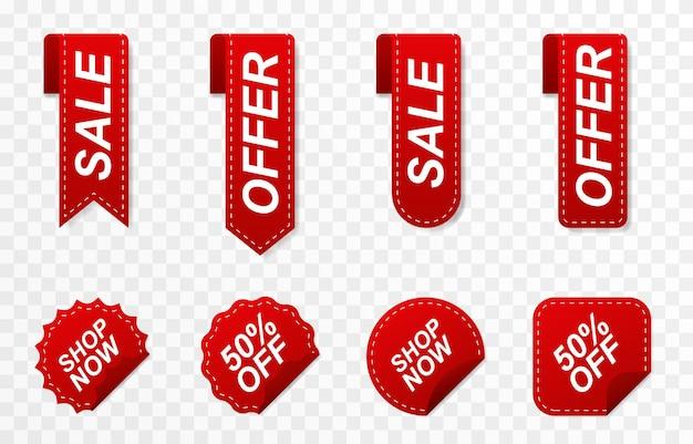 Insieme degli sconti dei cartellini dei prezzi dei nastri rossi