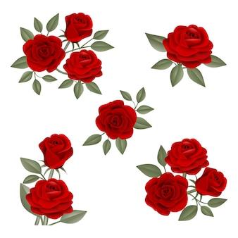 Set di composizioni di rose rosse