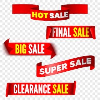 Set di banner di vendita rosso su sfondo trasparente. nastri e adesivi. rotoli di carta. illustrazione.